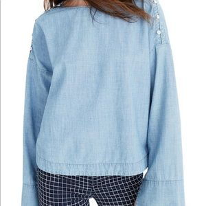 Madewell chambray button shoulder bell sleeve s L
